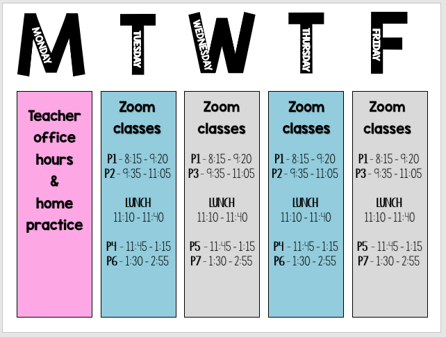 Weekly Calendar of class meeting times